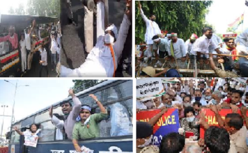 Protests against the farmers bill are taking place everywhere, Congressmen are giving arrests
