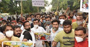 Jabalpur: Yuva Morcha siege of Rajya Sabha MP Tankha Niwas